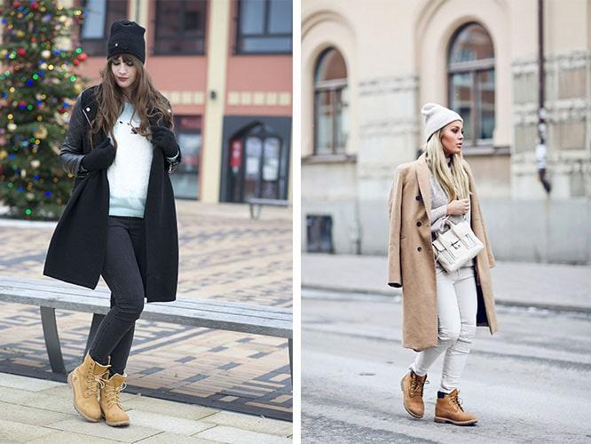 грубые ботинки с пальто