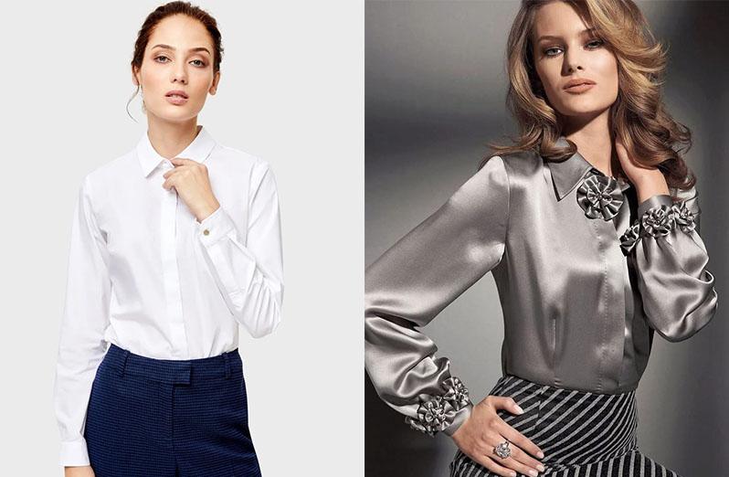 Шелковая блузка и белая рубашка